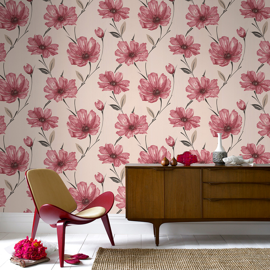 5 red wallpapers to liven up your living room for Red flower wallpaper living room